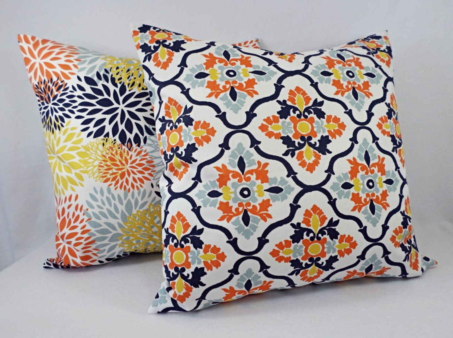 26X26 Pillow Insert Orange Navy Pillow Cover  Orange Pillow Cover  Navy Decorative