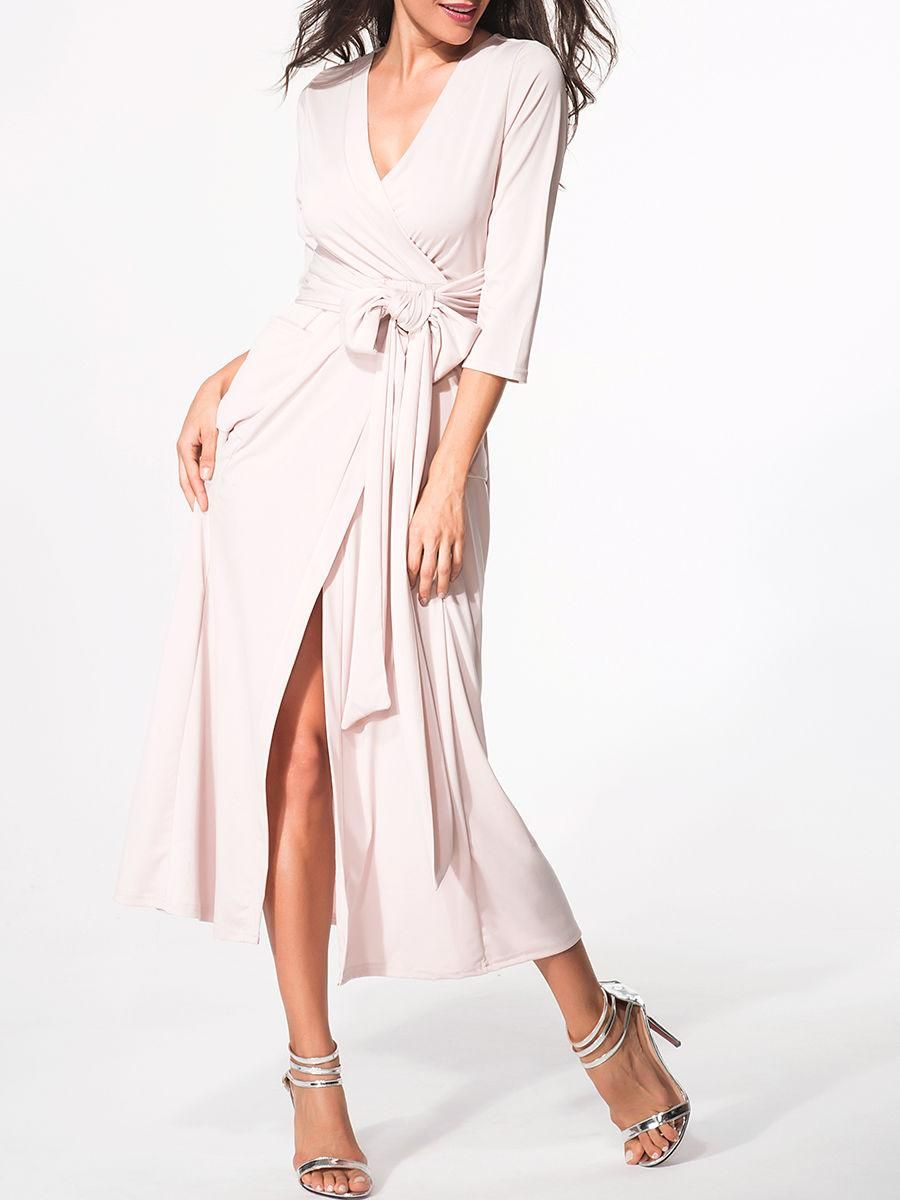 Surplice plain bowknot high slit maxidress maxi dresses dress