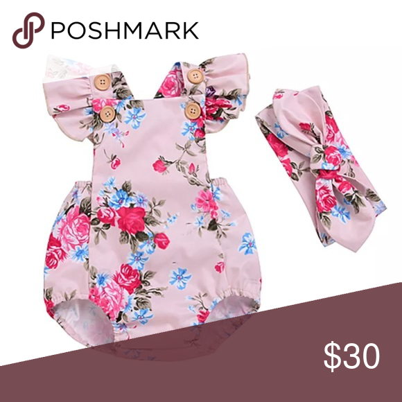 7657756af1e0 ⭐️NEW⭐ Pink Floral Romper with Headband Pink Floral Romper that comes with  matching Headband! 100% cotton. Bottoms Jumpsuits   Rompers