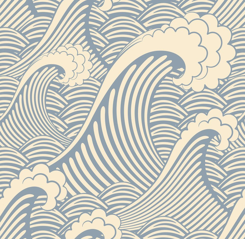 Removable Wallpaper - Waves of Chic This reminds me of those really cool old Japanese woodblock prints