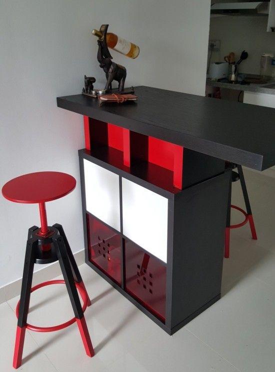 Bar High Dining Table With Kallax Shelves Ikea Esszimmer