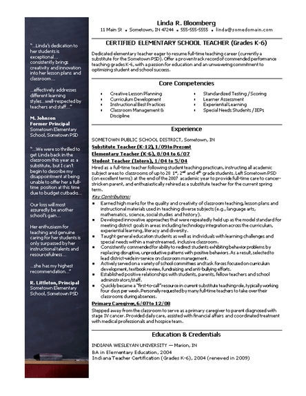Resume For A Teacher Teacher Resume  Teacher Resume Template  College Resume