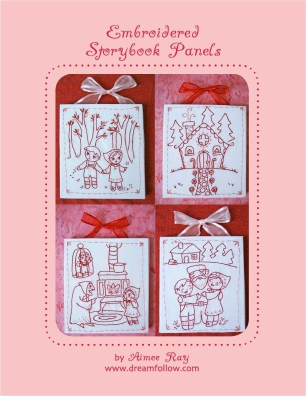 More patterns from Aimee Ray's Etsy store. I think these are superb. Embroidered Storybook Panels embroidery craft pattern PDF $5.00  These cute Storybook Panels tell the classic story of Hansel and Gretel in four parts. They are easy and fun to make, the perfect decor for a child's room, or for anyone who loves fairy tales.