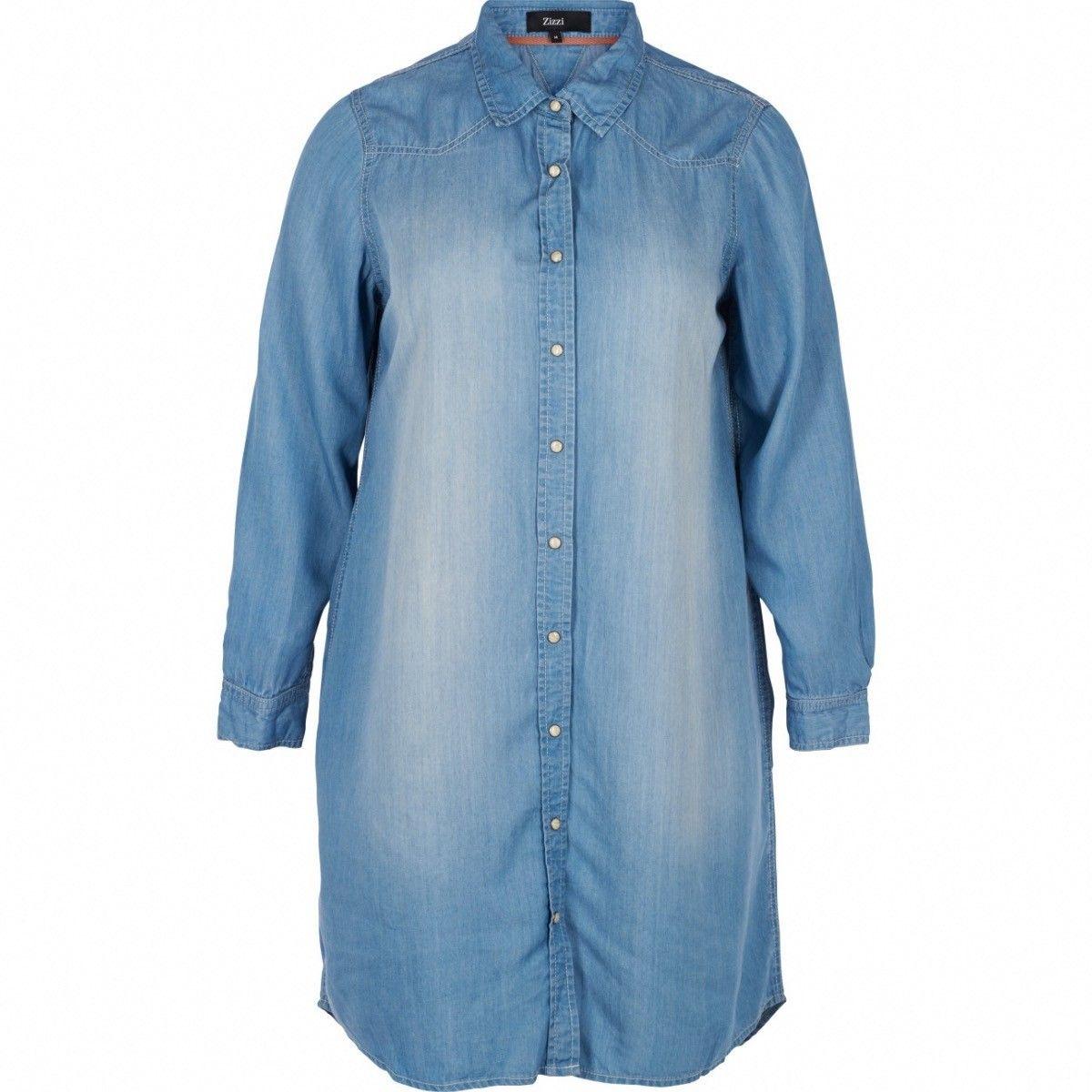 Andrea, Longue chemise en jean, grande taille Zizzi pour Kalimbaka, Sélectionnez votre taille 46/48