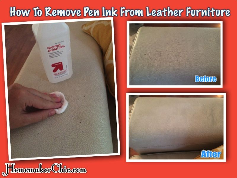 how to clean ink stain on leather sofa
