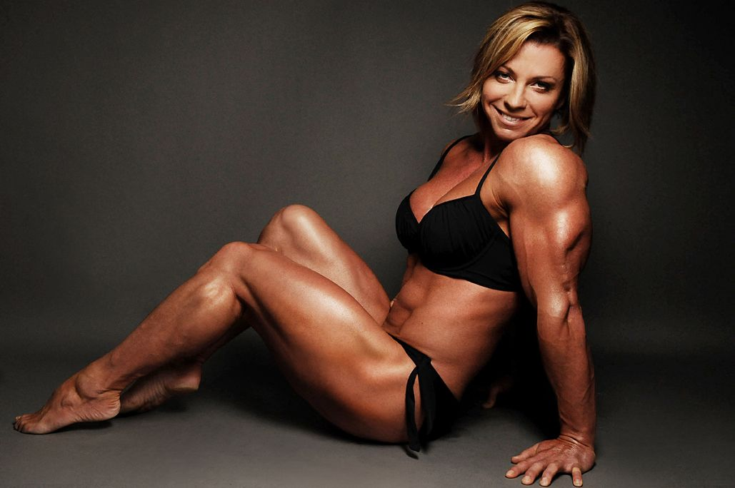 Bodybuilder Mature Sexy Woman Working Out Stock Photo