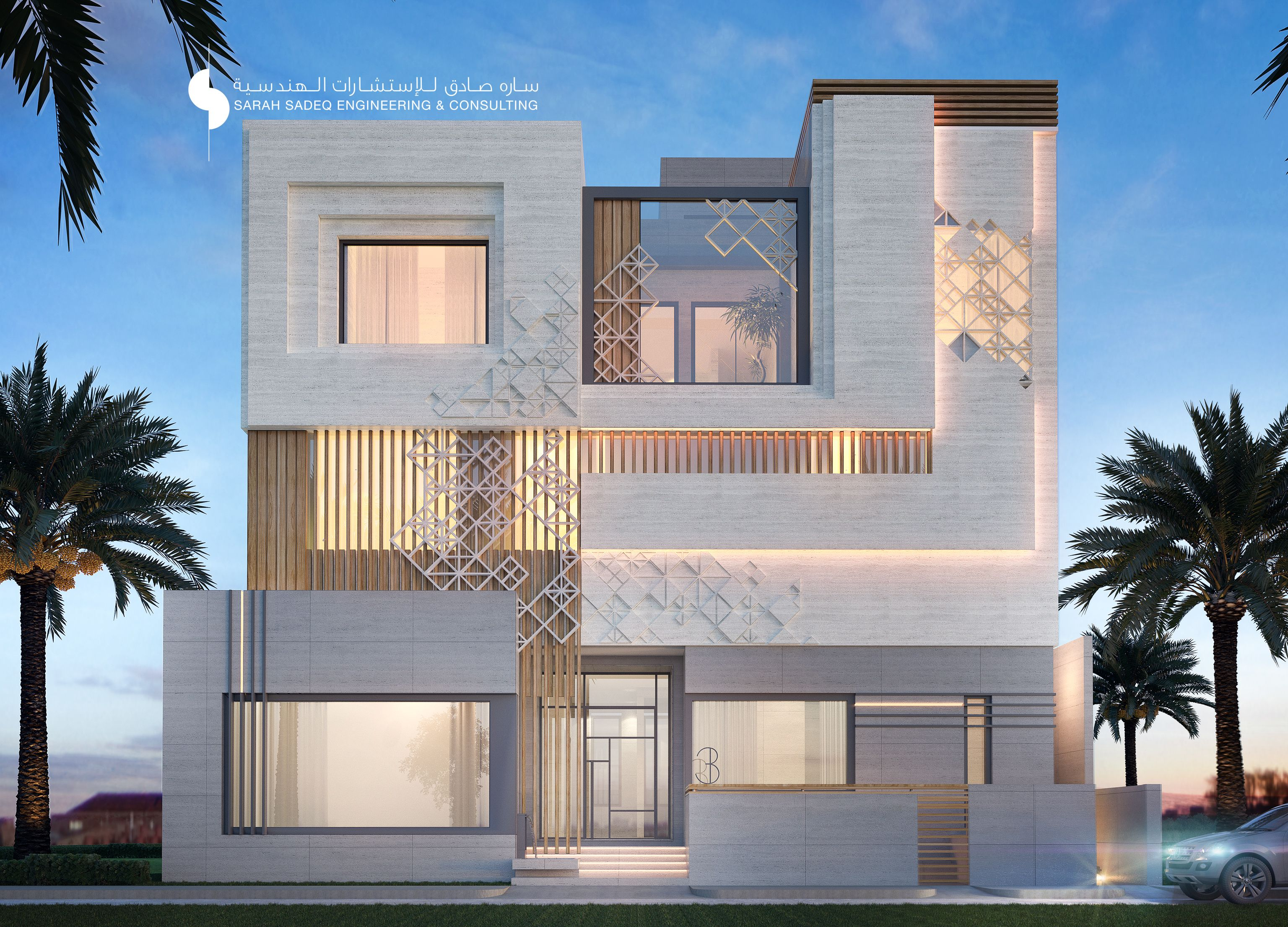 Private villa kuwait 400 m by sarah sadeq architects for Images of front view of beautiful modern houses