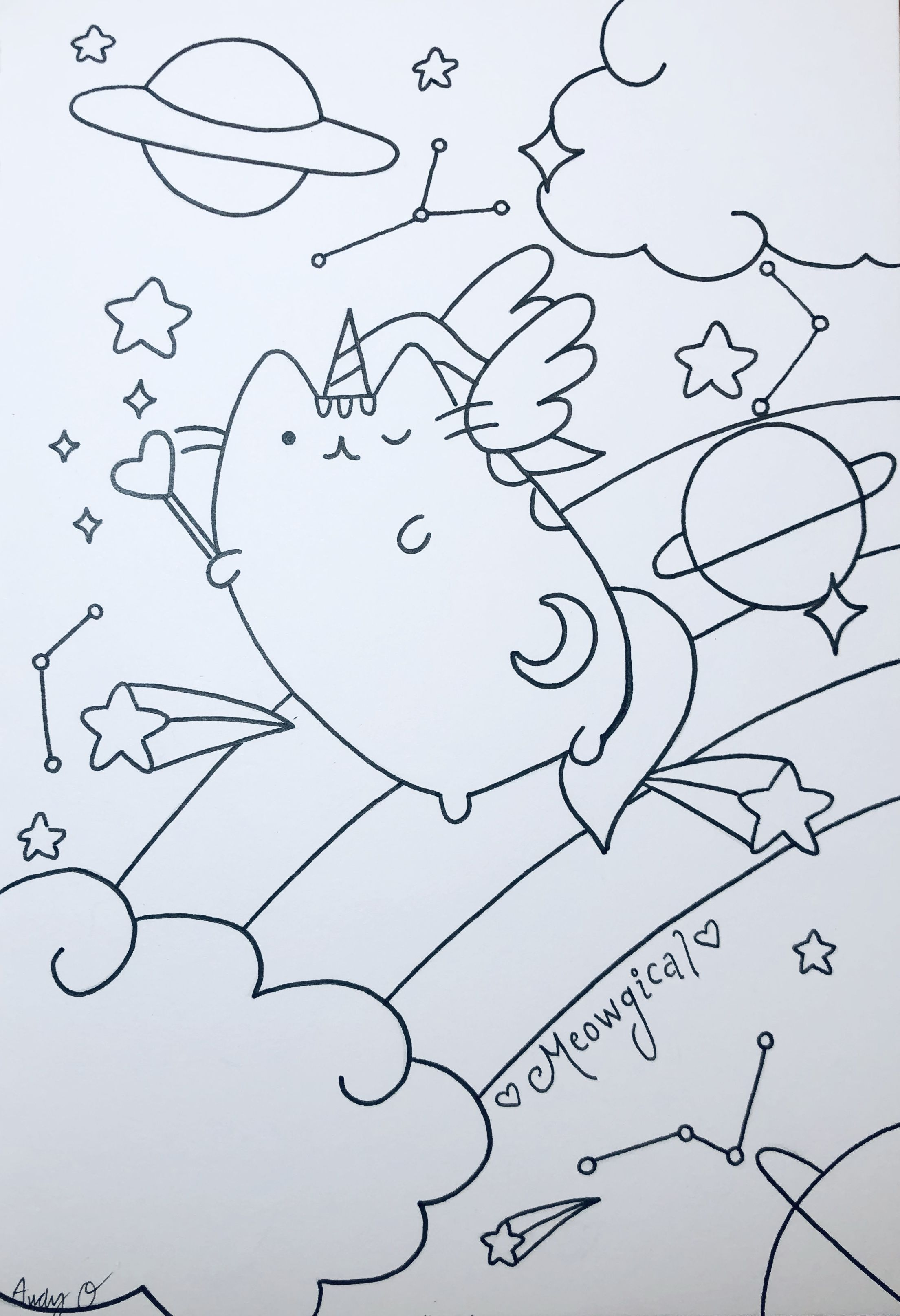 Pusheenicorn Coloring Page Pusheen Coloring Pages Coloring Pages Copic Pens [ 3230 x 2209 Pixel ]