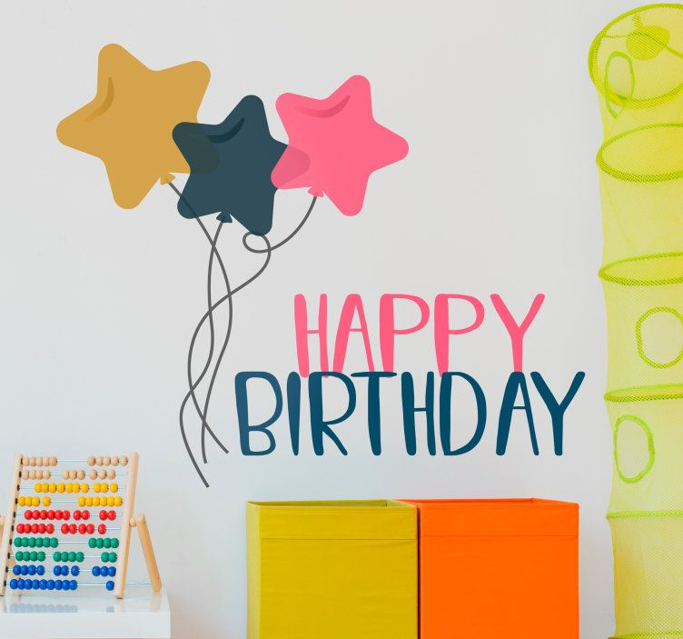 colourful happy birthday wall sticker for decorating the walls for a