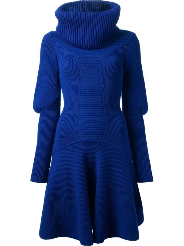 a463614753 Blue wool sweater dress from Alexander McQueen featuring a high ribbed cowl  neck