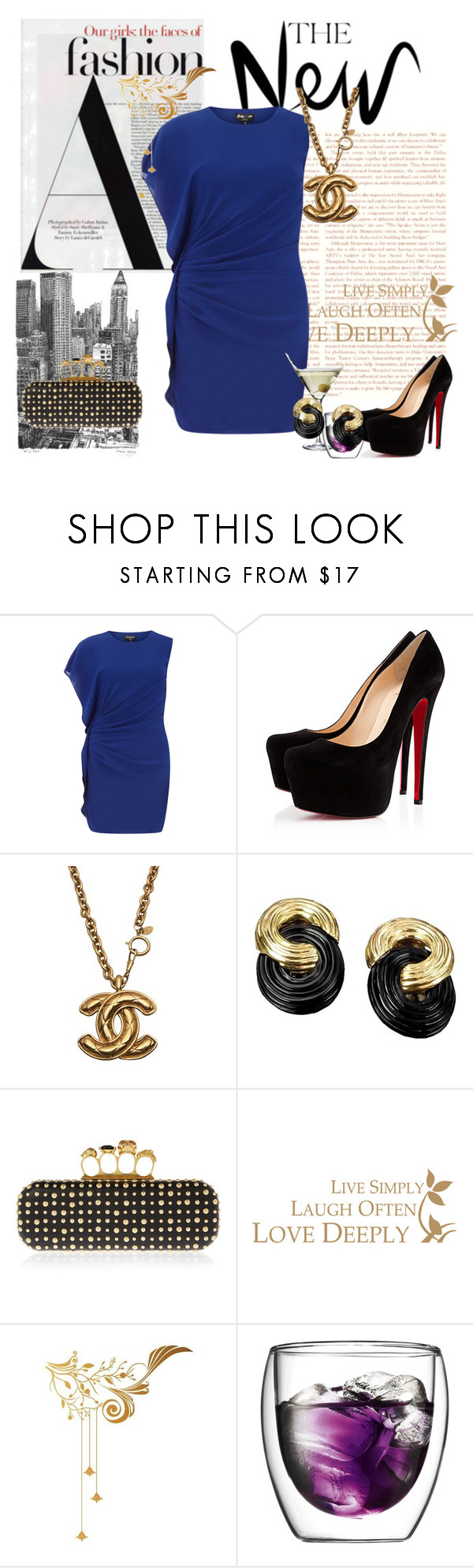 """""""Cocktail Party Chic"""" by chap6020 ❤ liked on Polyvore featuring moda, Dorothy Perkins, Christian Louboutin, Chanel, Alexander McQueen, Industrie, Savant, Surface Collective, Eva Solo e Bodum"""