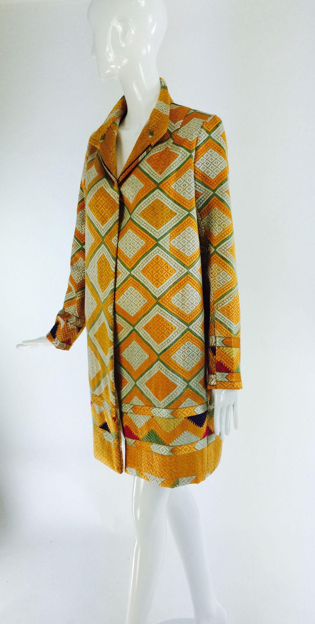 S punjab phulkari silk embroidered chand bagh coat phulkari
