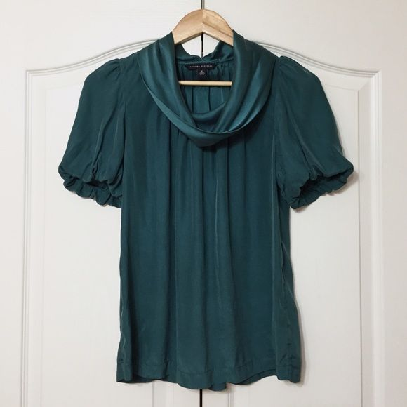 Silk Top 100% Silk short sleeve ruffle collar top - in excellent condition just needs to be steamed to get rid of wrinkles. Color is accurate didn't edit the photos. True to size, loose fit top. Banana Republic Tops Blouses
