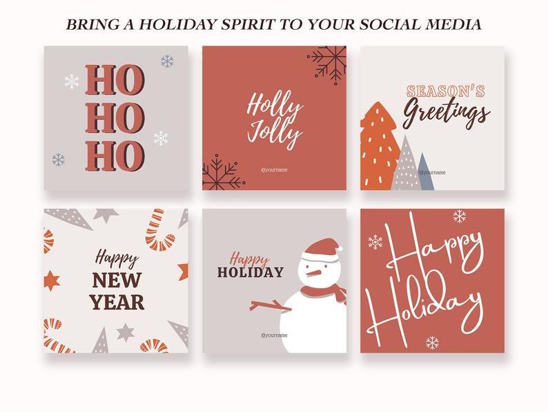 Happy Holiday Instagram Post Templates Graphic Social Media Flyer Digital Rustic Merry Christmas Marketing Canva Set Female Entrepreneur In 2021 Instagram Post Template Christmas Marketing Etsy Shop Branding
