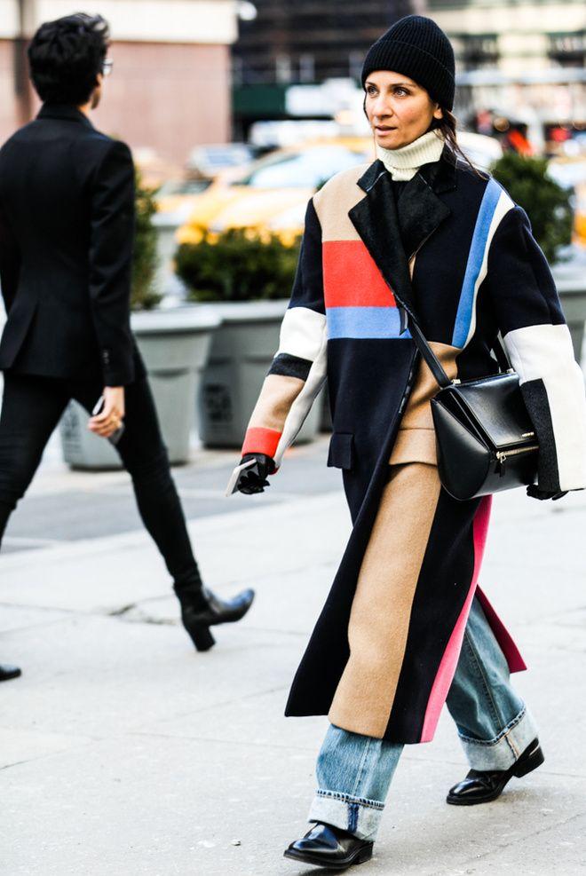 Bonnet et manteau patchwork Céline à la Fashion Week automne-hiver 2016-2017 de New York