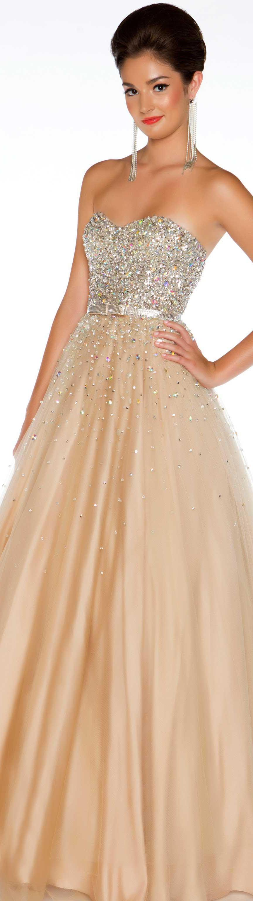 Mac duggal couture dress nude silver strapless glitter long