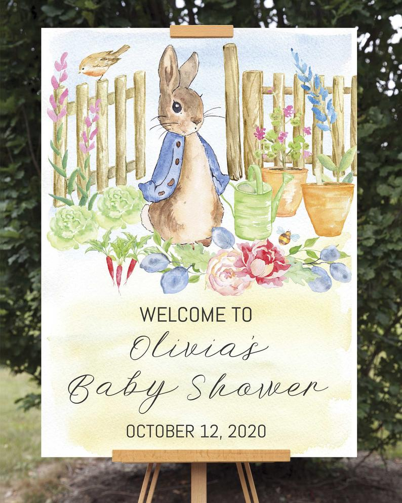 Poster Printable Print Baby Shower Sign Gifts and Cards Sign Pink Peter Rabbit Baby Shower Rabbit Baby Shower Cards and Gifts Sign
