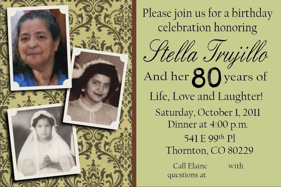 My Grandmothers 80th Birthday Party Invite