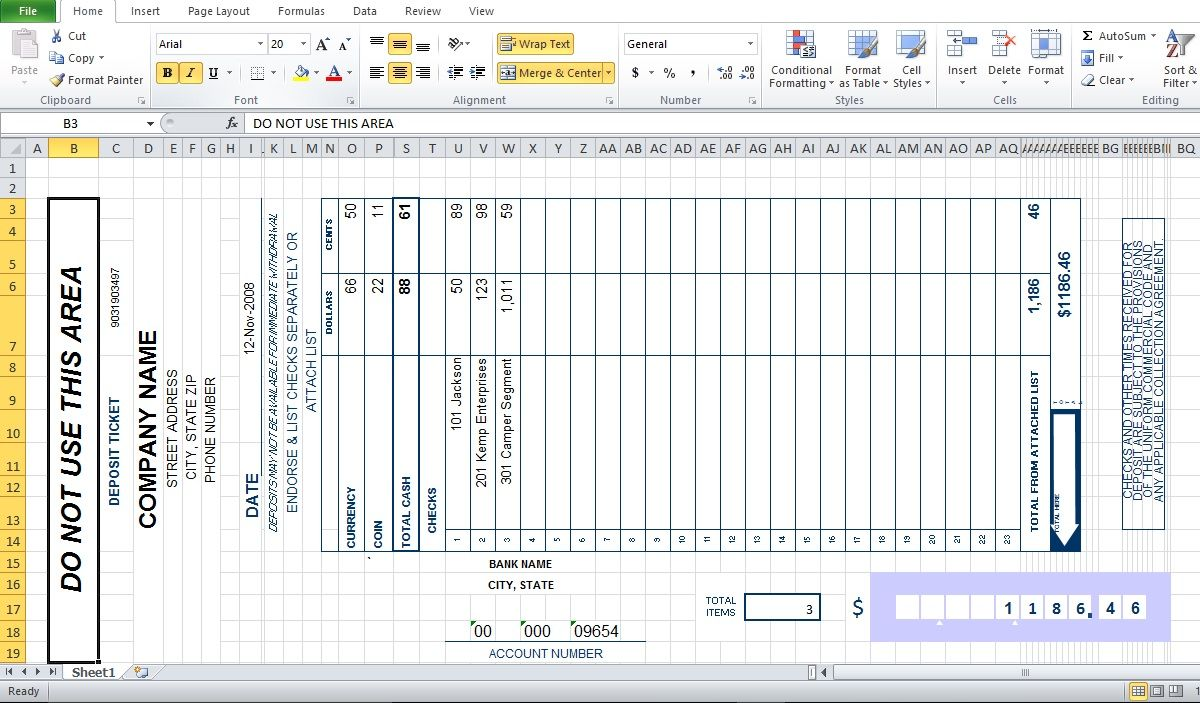 Bank Deposit Slip Template Excel Invoice Templates In 2018