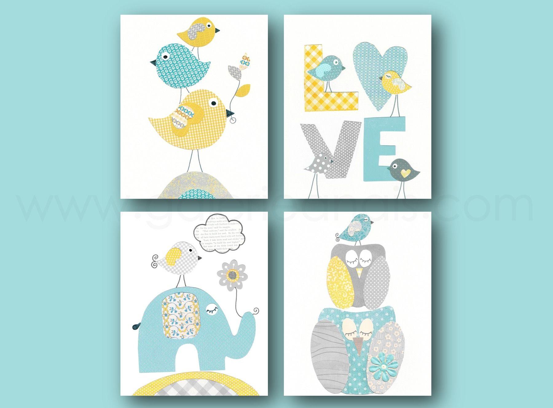 Lot de 4 illustrations 18x24 cm pour chambre d\'enfant et bebe, aqua ...