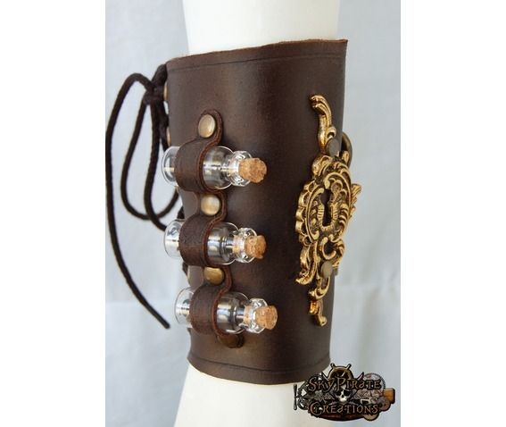 Steampunk The Alchemist Leather Bracer