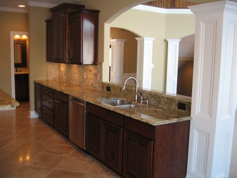 Custom Home Kitchen: Stained Wood Cabinetry, Dining Room Pass Through, Granite  Countertops, Madison Custom Homes Inc., Indianapolis, Indiana
