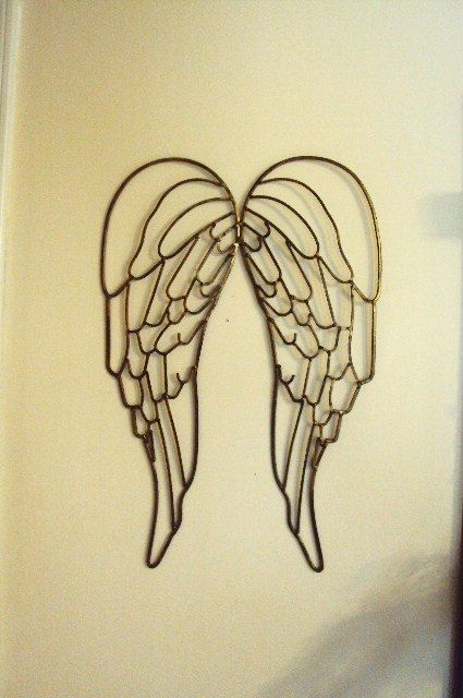Shabby Chic Wrought Iron Angel Wings Fairy Wings Antique Gold ...