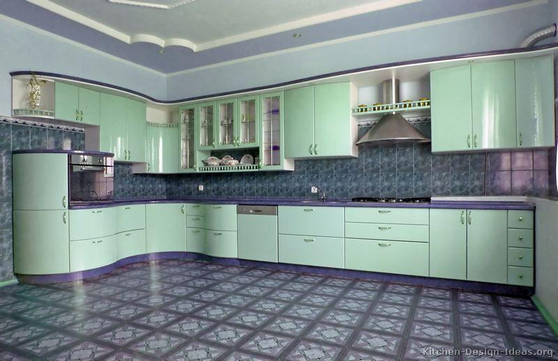 Art Deco Kitchen Cabinets Part - 37: Modern Green Kitchen Cabinets #02 (Kitchen-Design-Ideas.org) · Art Deco ...