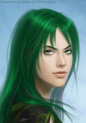Female Characters With Green Hair : female, characters, green, Shuangwen, DeviantART, Green, Hair,, Digital, Girl,, Fantasy, Women