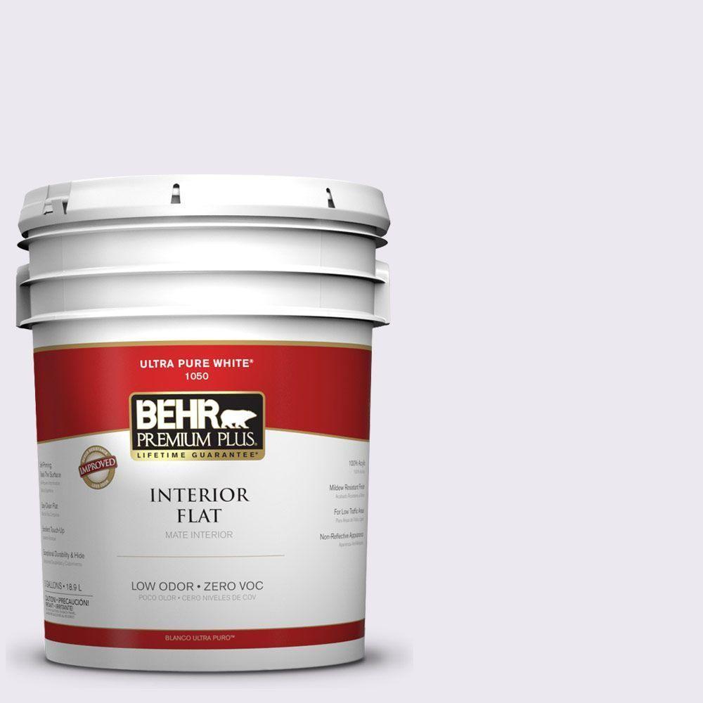 BEHR Premium Plus 5-gal. #650E-1 Lace Cap Zero VOC Flat Interior Paint