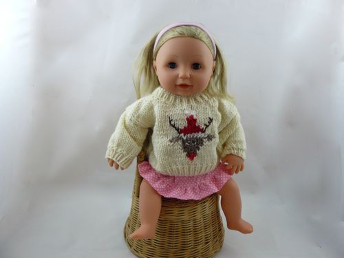 Reindeer Jumper For 16 Doll Free Knitting Patterns Knitted Tiny