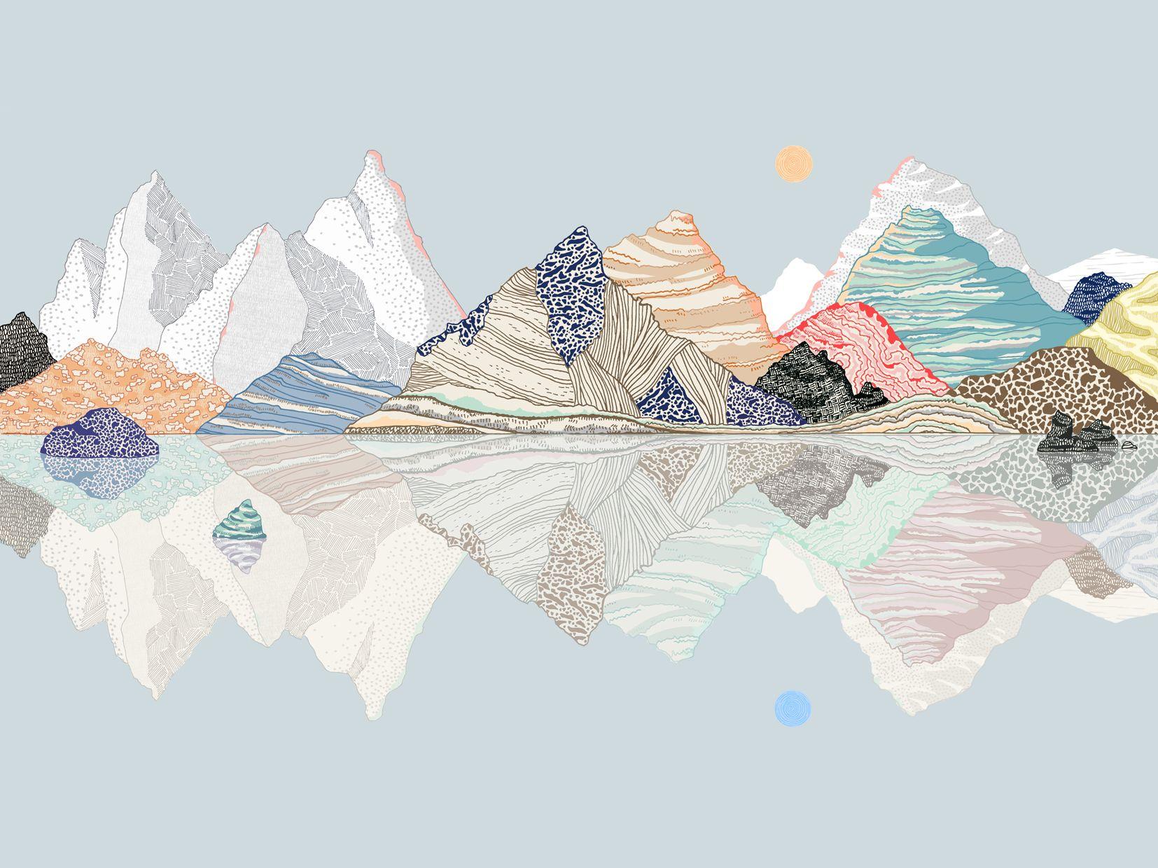 Blue Mountains Reflection Limited Edition Print Ana De Lima Desktop Wallpaper Art Aesthetic Desktop Wallpaper Art