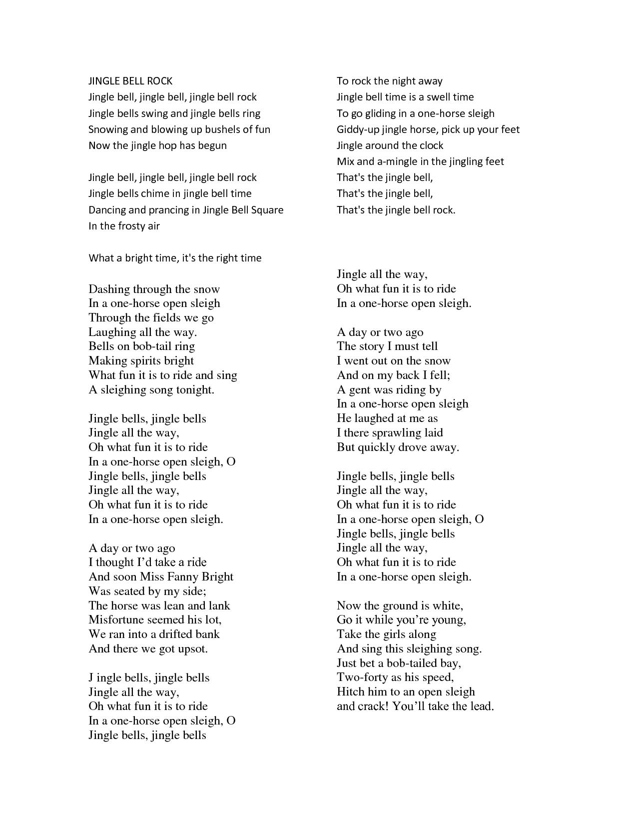 lyrics to jingle bell rock scope of work template