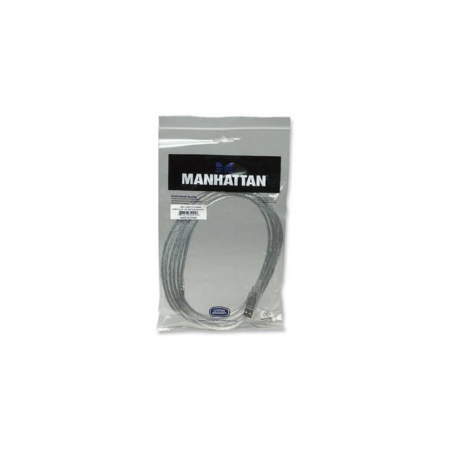 Manhattan 340458 10ft USB 2.0 Type A Male to USB 2.0 Type B Female Hi-Speed USB Device Cable (Translucent Silver)