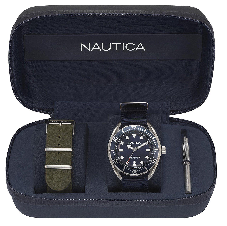 Blue Nautica Nylon Watch Date Dial Prf Men's Box Strap Set rCBdxeo