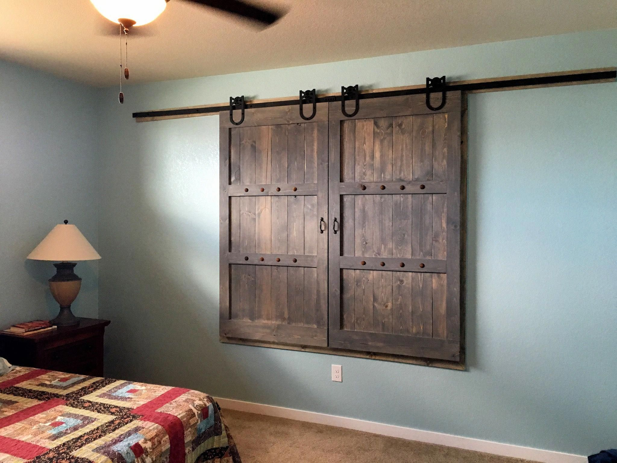Barn door window covering i made this with rough pine