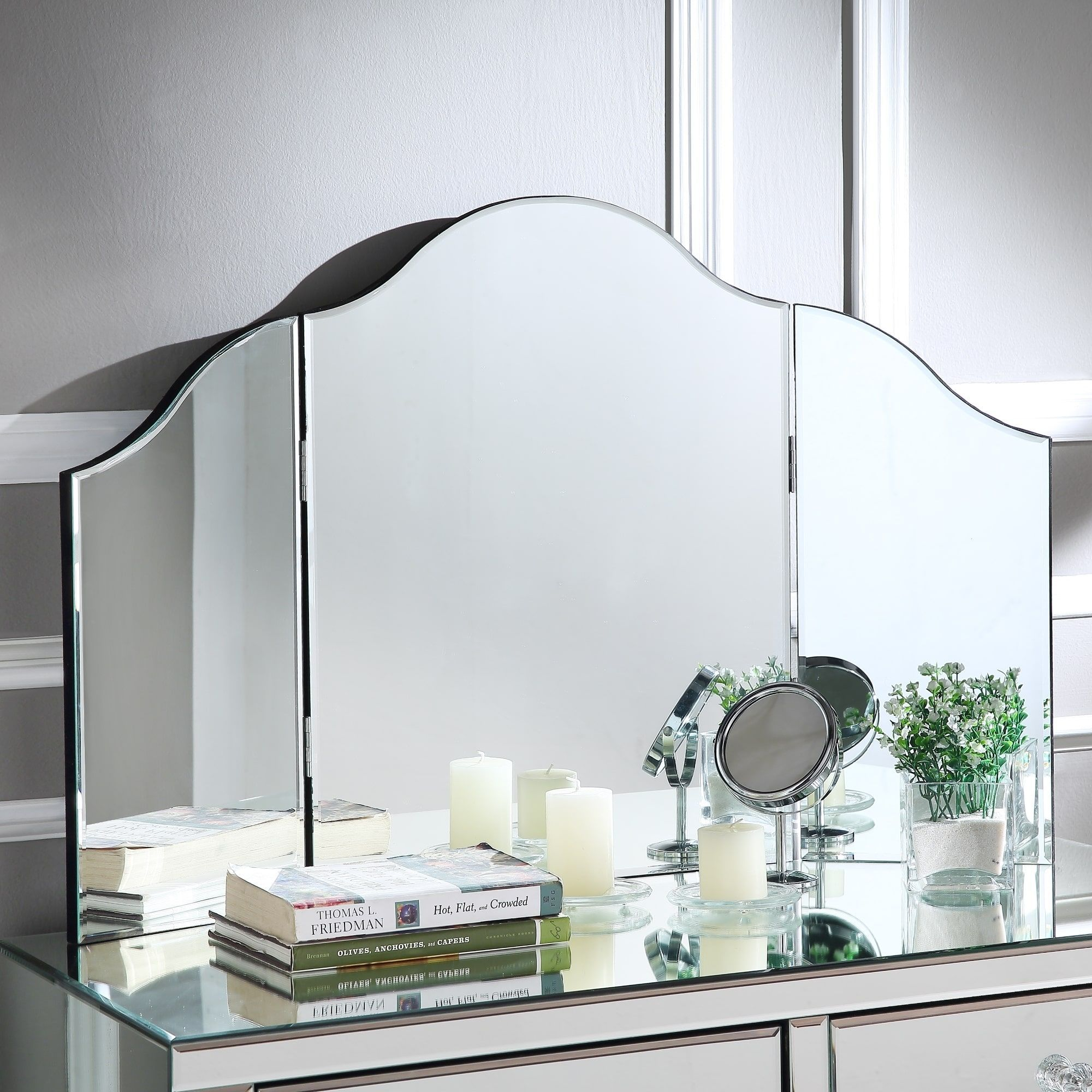 Tri Fold Vanity Mirror With Lights Inspired Home Hannah Frameless Modern Contemporary Trifold Tabletop
