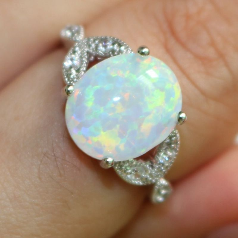 Details about Size 4-12 Silver Plated Australian Oval Fire Opal Ring Wedding Propose Cluster