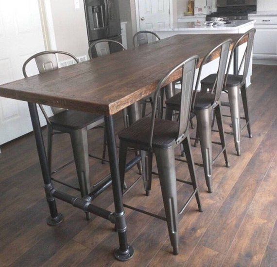 7 foot dining table 8 foot description foot 30 reclaimed wood dining table kitchen industrial pipe base pipe diameter is 14 and pictured height 42 the table