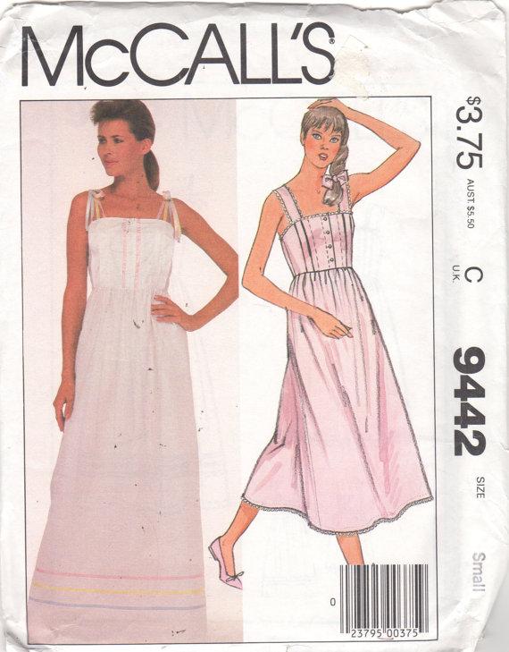 McCalls 9442 Misses Nursing Gown Pattern High Waist Nightgown Tied ...