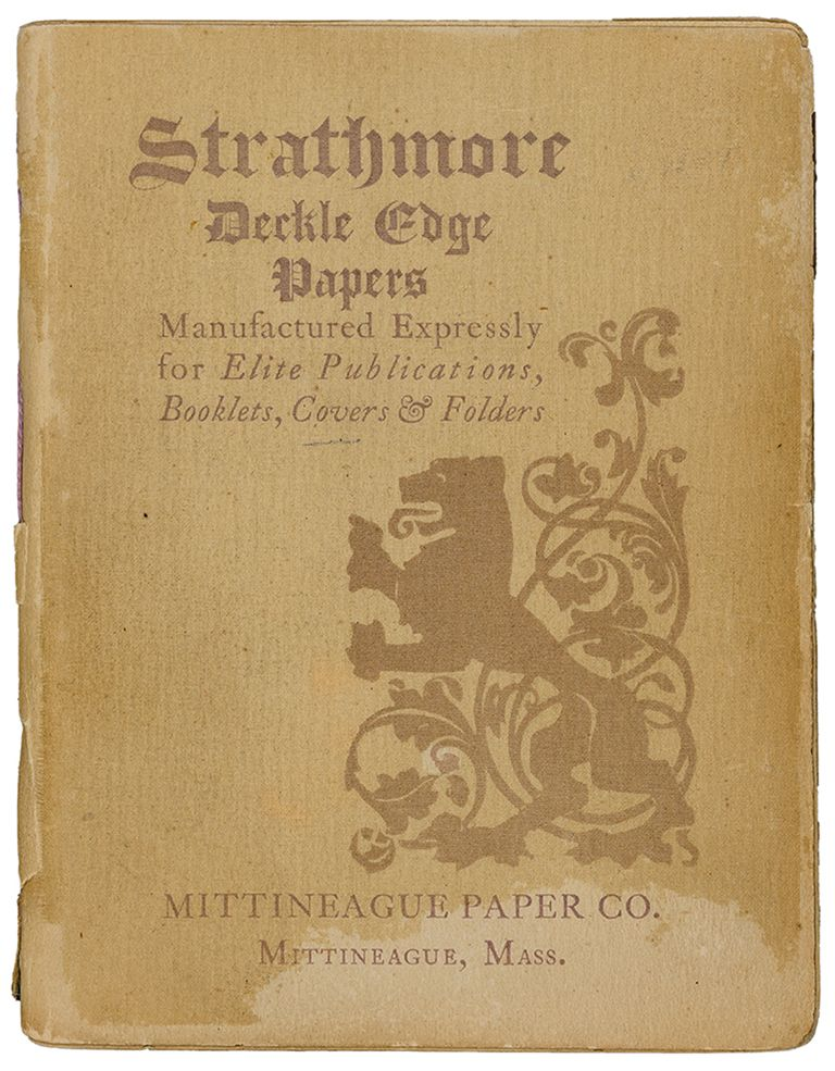 strathmore deckle edge papers sample book cover 1897 design by