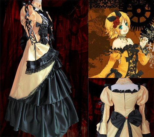 Vocaloid Rin Kagamine Daughter of Evil / Servant of Evil Victorian Gothic  Court Dress Custom Cosplay