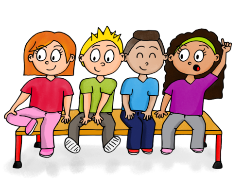 Dessin enfants assis sur un banc back to kindergarden illustration clip art et education - Dessin enfant facile ...