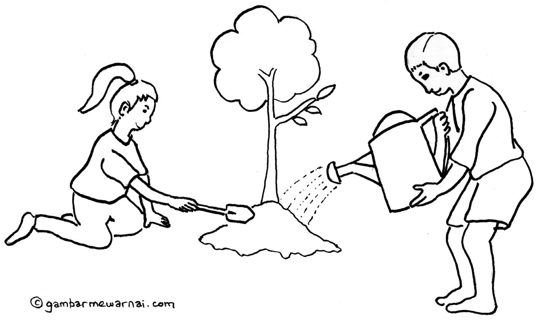 Gambar Mewarnai Kebersihan Lingkungan Sekolah Asa Pinterest