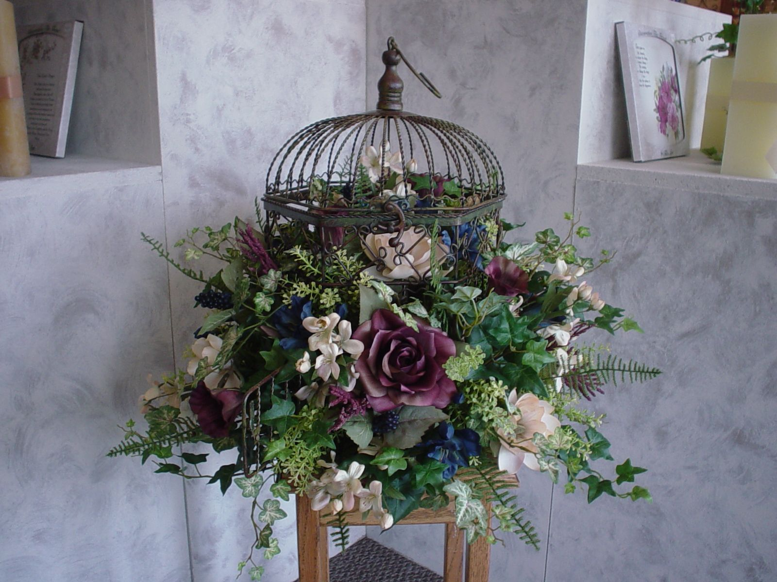 Image Detail For Wine Royal Blue And Cream Birdcage Silk Floral