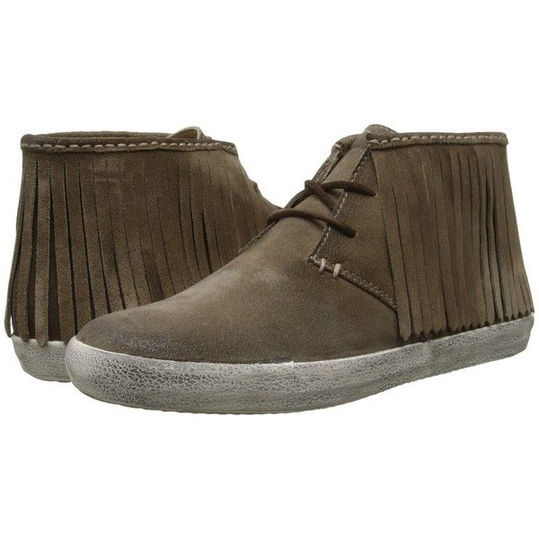 Frye Dylan Fringe (Grey Oiled Suede) Women's Boots ($113) ❤ liked on