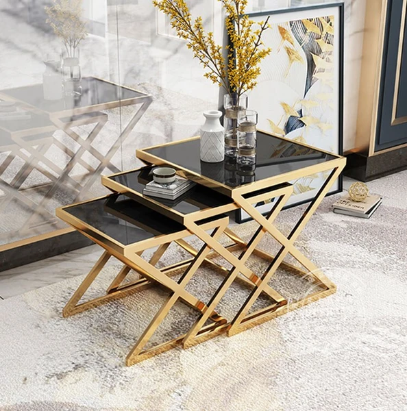 Luxury Coffee Table Sofa Side Table Corner Table Living Room Furniture Tempered Glass Stainless Steel Small Square Table Set Black Side Table Nesting End Tables Corner Table Living Room