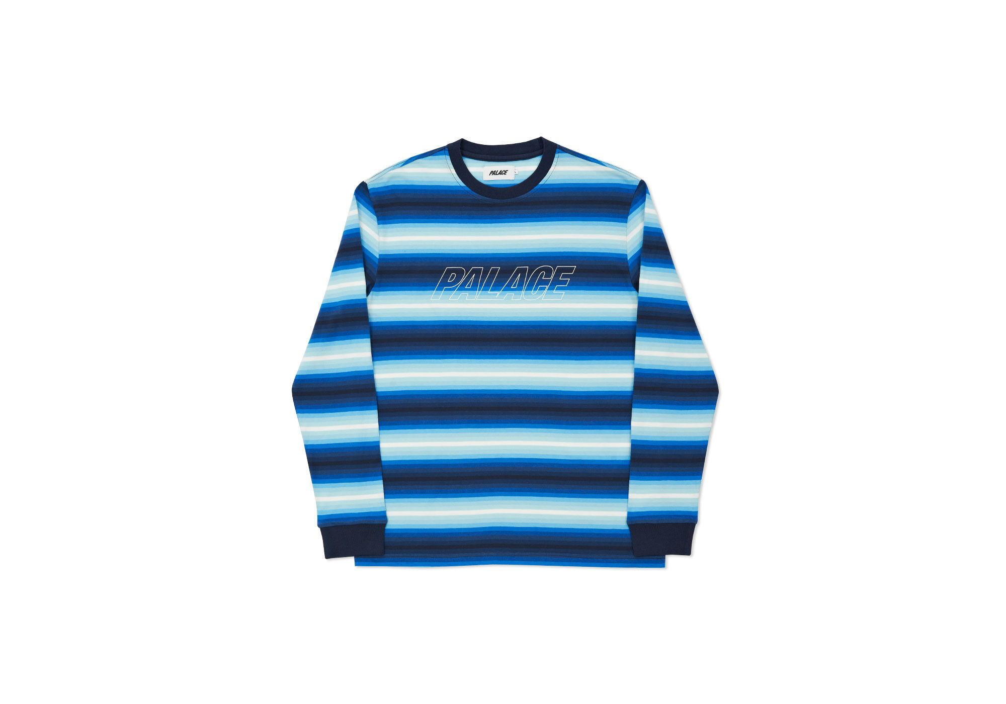 Palace Skateboards Fader Stripe Top Blues Winter Collection Clothes Winter 2016 [ 1400 x 2000 Pixel ]