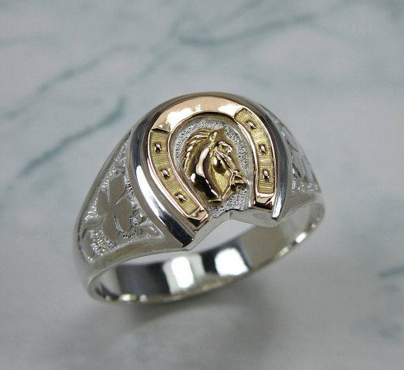 f3eba88803 Horseshoe Ring, Gold Horseshoe, Silver Horseshoe Ring with Gold Horse Head, Horseshoe  Ring in Silver