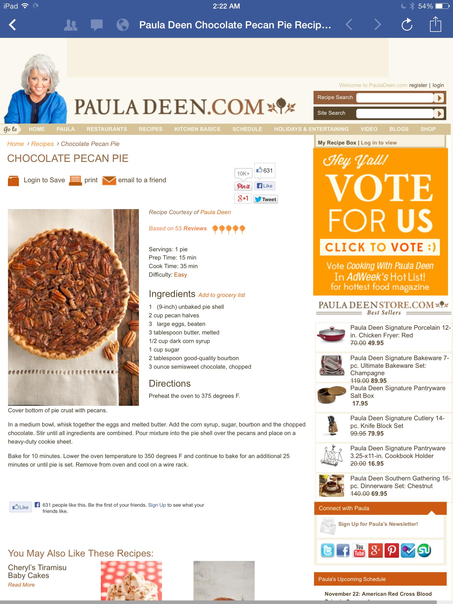 Paula Deen Chocolate Pecan Pie | Chocolate pecan pie ...